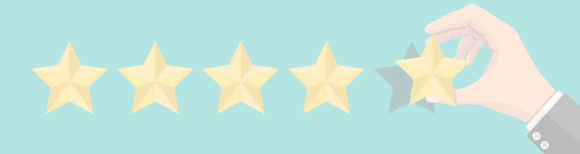 five rating stars with a hand